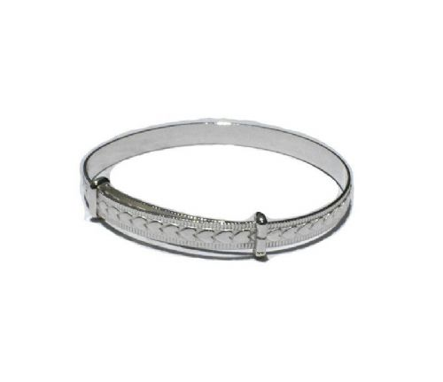 Baby Bangle Solid Silver Christening 18 mths-3 years Heart Adjustable Bracelet